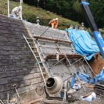 舞鶴市でのお墓参道法面ブロック積(スプリット間知)工事。安全で快適になるよう作業