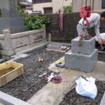 京都府舞鶴市西舞鶴寺院墓地にて新墓建立工事と防草工事